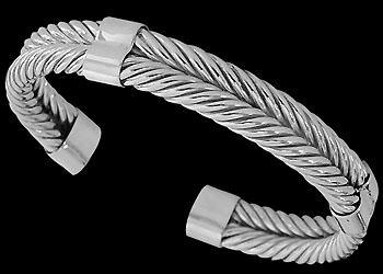 Plus Size Jewerly - .925 Sterling Silver Cable Bracelets B826 - 11mm