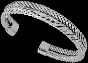 Plus Size Jewerly - .925 Sterling Silver Cable Bracelets B827 - 11mm