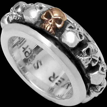Gothic Jewellery - .925 Sterling Silver Flaming Skull Rings R189Gold