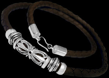 Leather Jewelry - Synthetic Brown Leather and .925 Sterling Silver Necklaces NSL034br-6mm