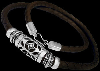 Leather Jewelry - Synthetic Brown Leather and .925 Sterling Silver Necklaces NSL027br-6mm