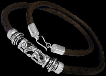 Leather Jewelry - Synthetic Brown Leather and .925 Sterling Silver Necklaces NSL041br-6mm