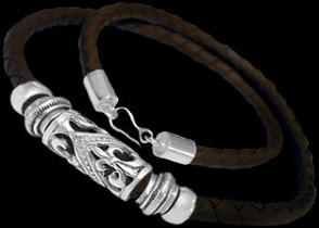 Leather Jewelry - Synthetic Brown Leather and .925 Sterling Silver Necklaces NSL032br-6mm