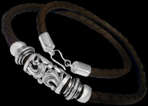 Leather Jewelry - Synthetic Brown Leather and .925 Sterling Silver Necklaces NSL004br-6mm
