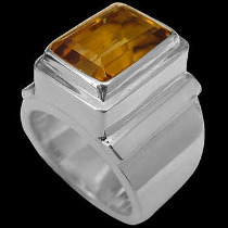 Men's Jewelry - Citrine and Sterling Silver Rings MR20B - Polish Finish