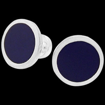 Grooms Jewelry - Blue Resin and Sterling Silver Cuff Links AZ502