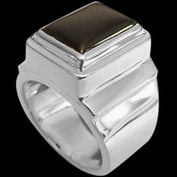 Men's Jewelry - Onyx and Sterling Silver Rings MR20B - Polish Finish