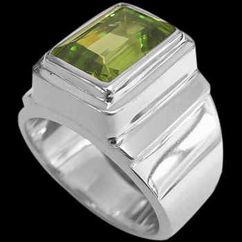 Men's Jewelry - Peridot and Sterling Silver Rings MR20B - Polish Finish