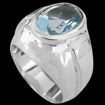Men's Jewelry - Blue Topaz and Sterling Silver Ring R977