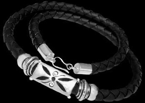 Gangster Jewelry - Black Synthetic leather and .925 Sterling Silver Necklaces NSL015 - 6mm