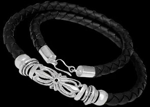 Gangster Jewelry - Black Synthetic leather and .925 Sterling Silver Necklaces NSL043 - 6mm