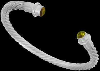Grooms Gift - Citrine and Sterling Silver Cable Bracelets B696cit - 5mm