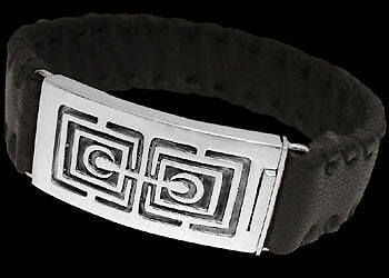 Groom's Gift - Black Leather and .925 Sterling Silver Bracelets BR1242