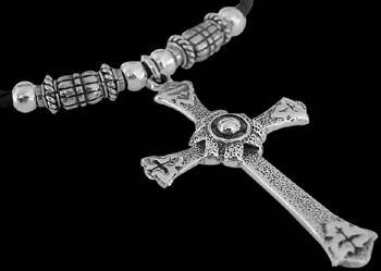 Religious Jewelry - .925 Sterling Silver Pendants and Synthetic Leather NSL020 - Large