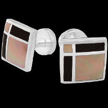 Silver Cufflinks - Mother of Pearl Black Resin and Sterling Silver Cuff Links AZ452MP