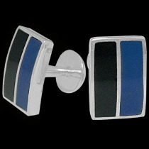Silver Cufflinks - Black Blue Resin and Sterling Silver Cuff Links AZ507