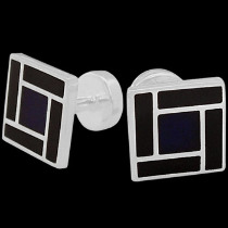 Silver Cufflinks - Blue  Black Resin and Sterling Silver Cuff Links AZ512