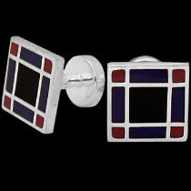 Silver Cufflinks - Red Blue Black Resin and Sterling Silver Cuff Links AZ513