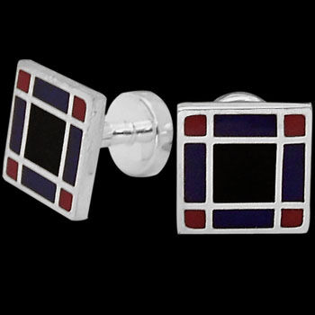 Grooms Jewelry - Red Blue Black Resin and Sterling Silver Cuff Links AZ513