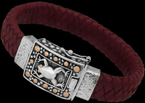 Genuine Maroon Leather 18K Gold and Sterling Silver Bracelets LB7807M