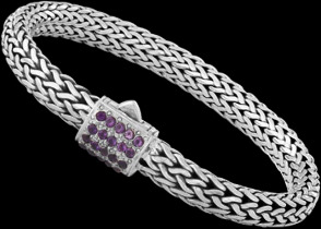 Gemstone Jewelry - Amethyst and Sterling Silver Bracelets B6115AM