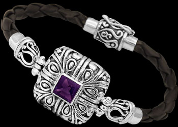 Genuine Black Leather Amethyst and Sterling Silver Bracelets LB5772Am