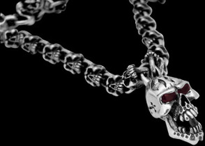 Silver Jewelry - Garnet Gemstones and Sterling Silver Skull Necklaces N020
