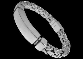 Plus Size Jewelry - Sterling Silver Bracelets ID B750L - Security Clasp - 9mm