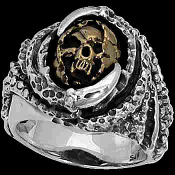Silver Jewelry - .925 Sterling Silver 14K Gold Grim Reaper Skull Rings R281G