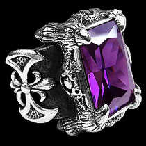 .925 Sterling Silver Amethyst Cubic Zirconia Dragon Claw and Axe Ring R119PRL