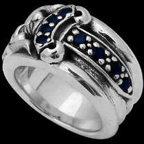 .925 Sterling Silver Blue Cubic Zirconia and Sword Rings R927