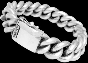 Sterling Silver Link Bracelets B1034 - Security Clasp - 15mm