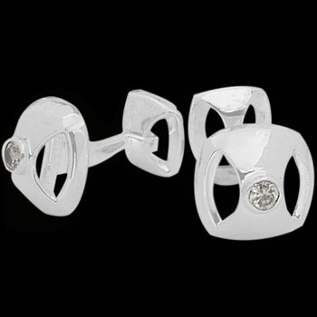 Silver Cufflinks - Cubic Zirconia and Sterling Silver Cuff Links CF-55