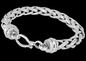 Sterling Silver Bracelets B677H - Hook Clasp - 8mm