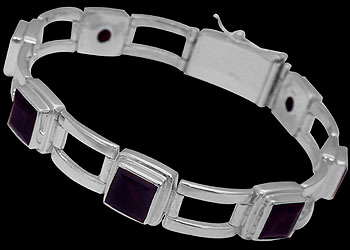 Gemstone Jewelry - Amethyst and Sterling Silver Bracelets B16AAM