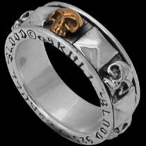 Gothic Jewellery - .925 Sterling Silver and Brass Blood Skull Rings R355