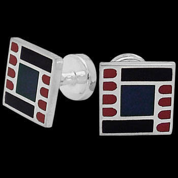 Grooms Jewelry - Blue Red  Black Resin and Sterling Silver Cuff Links AZ516