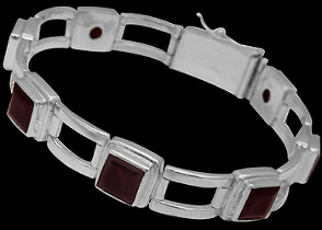Gemstone Jewelry - Garnet and Sterling Silver Bracelets B16AGA