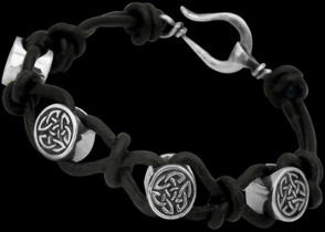 .925 Sterling Silver Celtic Beads and Black Leather Bracelets - Celtic Beads CB106