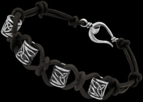 .925 Sterling Silver Celtic Beads and Black Leather Bracelets - Celtic Beads CB121