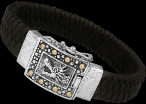 Genuine Black Leather 18K Gold and Sterling Silver Dragon Bracelets LB8161Blk
