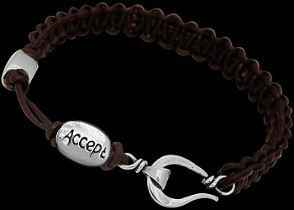 .925 Sterling Silver 'Accept' Beads and Brown Leather Bracelet Anixi11abr