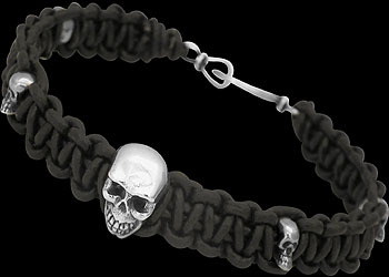 Skull .925 Sterling Silver Beads and Black Leather Bracelets - Skull Beads Anixi21SK