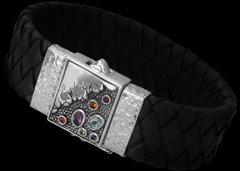 Genuine Black Leather Assorted Gemstones and Sterling Silver Bracelets BR801Bk