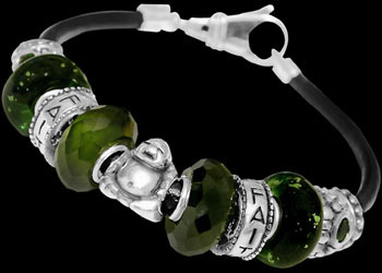 Green Glass Beads Green Cubic Zirconias .925 Sterling Silver Beads and Leather bracelet PB200