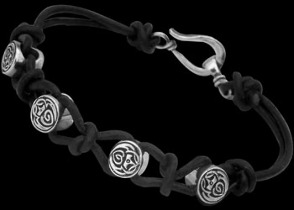Black Leather and Celtic Sterling Silver Beads Bracelets CB123