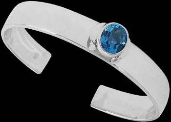Gemstone Jewelry - Topaz and .925 Sterling Silver Cuff Bracelets B467rtop