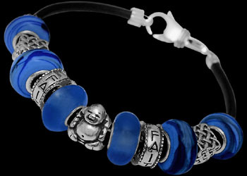 Blue Beads and .925 Sterling Silver Beads and Black Leather bracelet PB151
