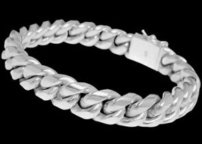.925 Sterling Silver Link Bracelets B697C - Double Security Clasp - 15mm
