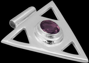 Faceted Amethyst and .925 Sterling Silver Pendant MP097famy